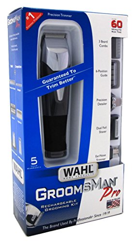 Wahl 9860-700 Groomsman Pro All-in-one Rechargeable Grooming Kit, Black/silver