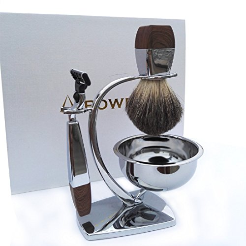akpower shaving set for men badger brush bowl stand and safety razor shaving clean. Black Bedroom Furniture Sets. Home Design Ideas