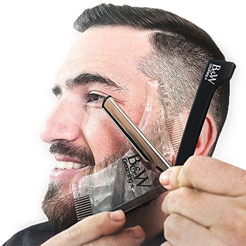all in one beard grooming kit transparent beard shaping template tool with two built in combs. Black Bedroom Furniture Sets. Home Design Ideas