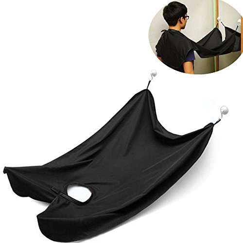 xbes men 39 s beard apron bib hair catcher mustache shaving trimming kit with suction cups black. Black Bedroom Furniture Sets. Home Design Ideas