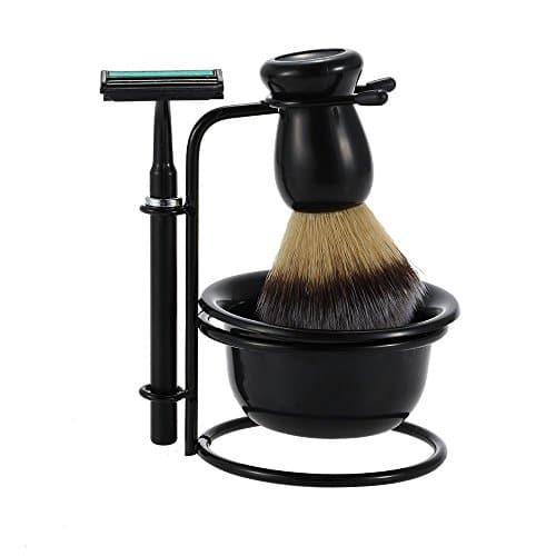 goodping 4 in 1 shaving beard razor set shaving brush metal stand acrylic bowl men 39 s manual. Black Bedroom Furniture Sets. Home Design Ideas
